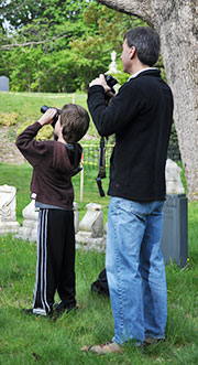 Father and son birding Mt. Auburn